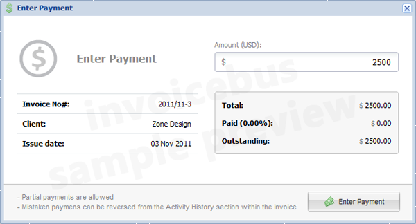 Invoicebus Enter Payment