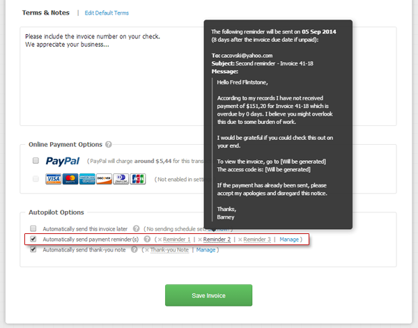 Automatic payment reminder is set within the invoice editor