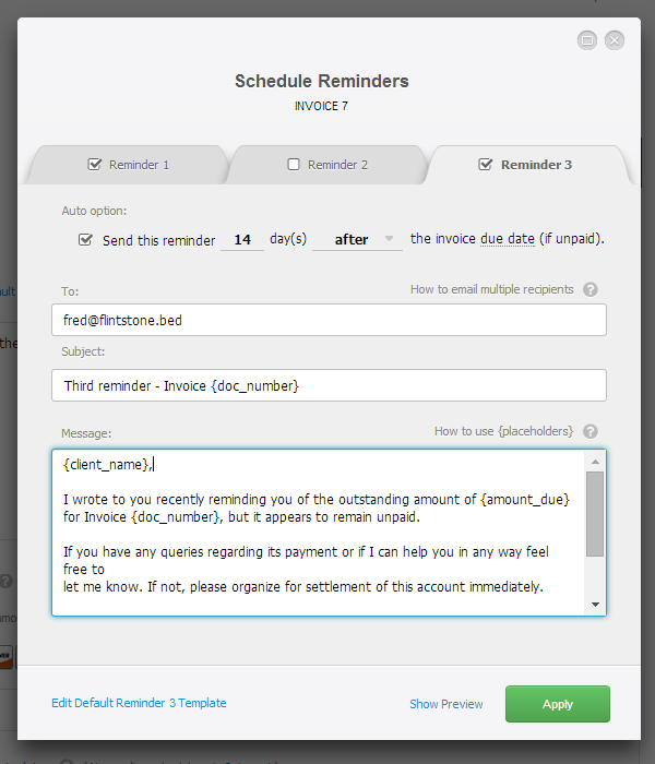 Automatic Payment Reminders