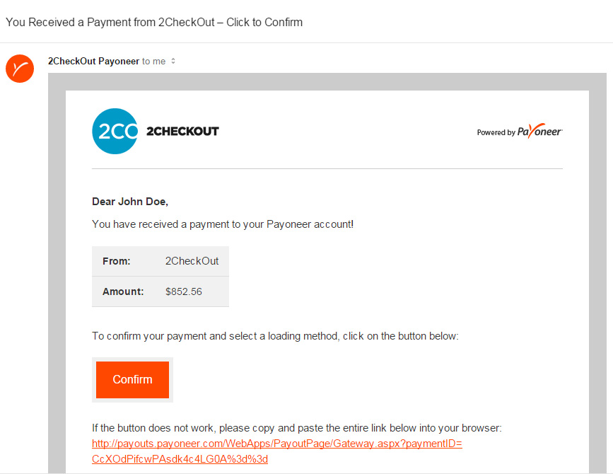 Payoneer Load Funds Email