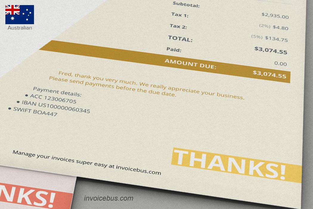 Australian Invoice Template Coparda