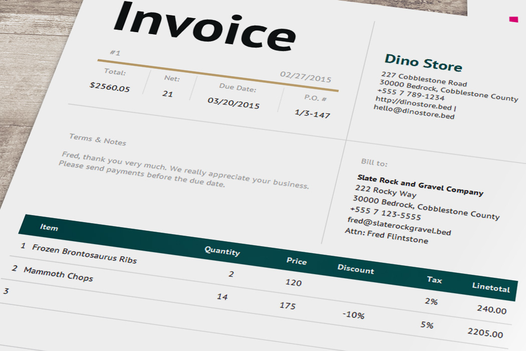Smart Invoice Template Bella