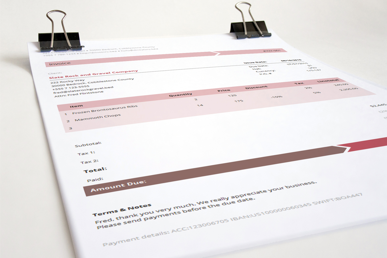 Business Invoice Template Armo