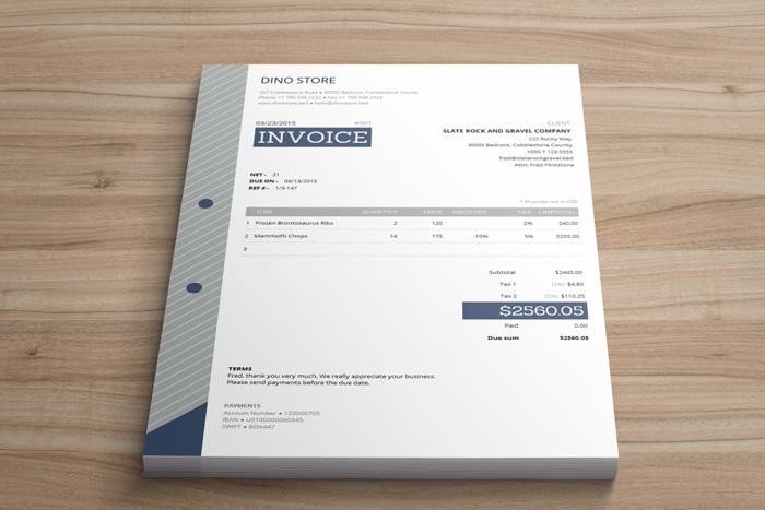 Corporate Invoice Template Easy - Html invoice template