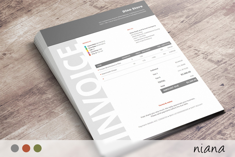 Commercial Business Invoice Niana - Corporate invoice template