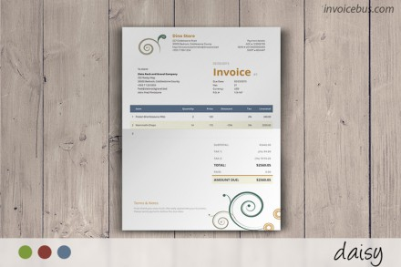 With abstract decorations and well-balanced colors, Daisy is a clean invoice template that transcends the boring concept of lines and numbers. The eye is immediately drawn to the bottom right corner, where the amount due is shown. Download it at //invoicebus.com/templates/invoices/creative/clean-invoice-template-daisy/