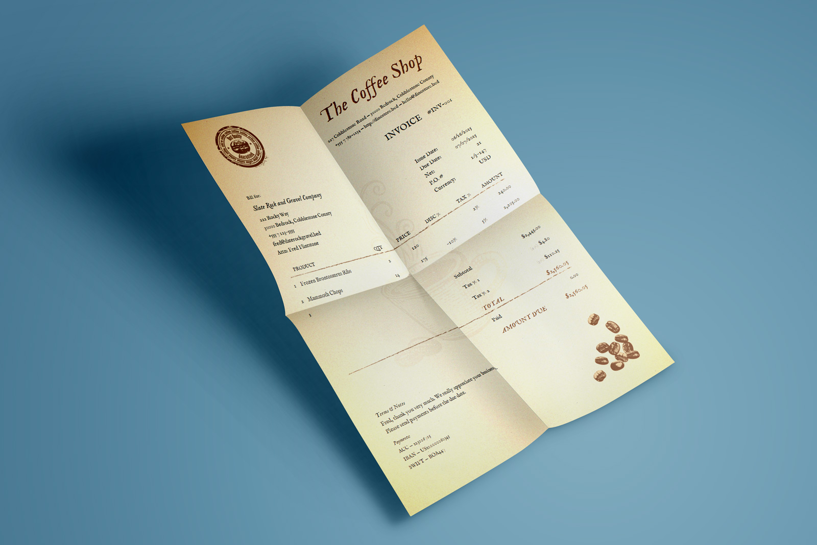 """The Coffee invoice template has a warm sensibility, beautiful typography, and a very clean layout. Its design is well-thought-out and emphasizes few key points on the document: your branding, the word """"invoice"""", and the amount you charge."""