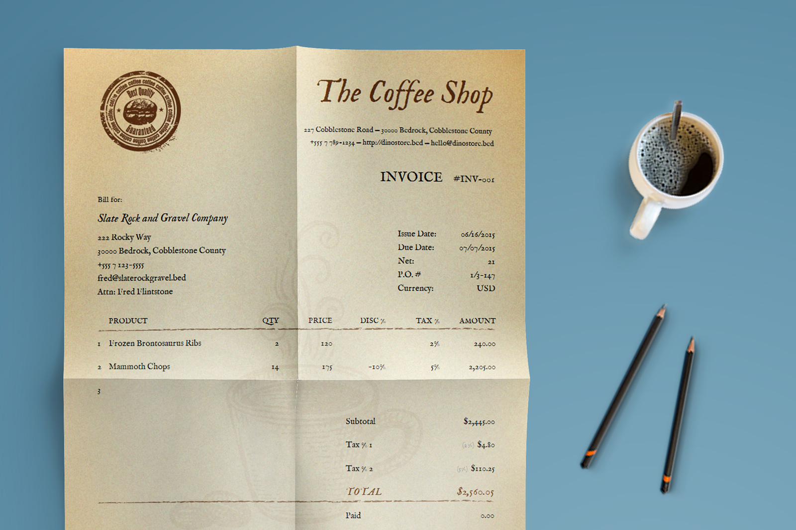 Coffee Invoice Template - Legal invoice template word vintage online stores