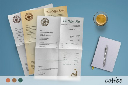 "The Coffee invoice template has a warm sensibility, beautiful typography, and a very clean layout. Its design is well-thought-out and emphasizes few key points on the document: your branding, the word ""invoice"", and the amount you charge."