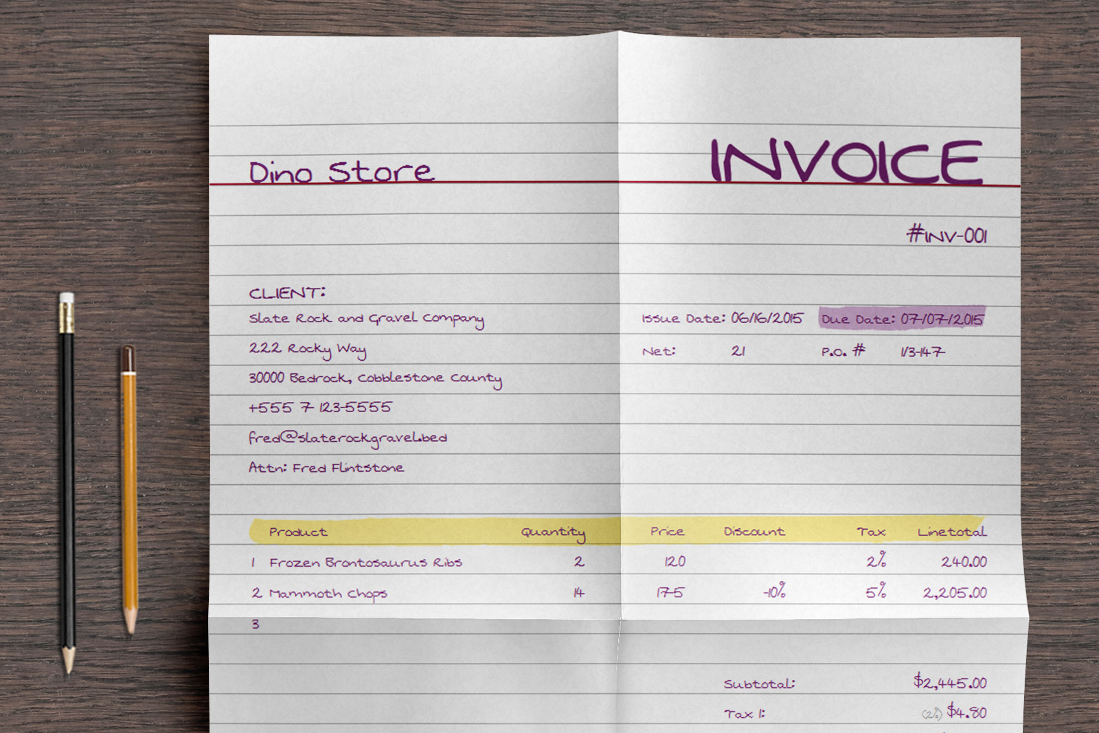 Designer Handwritten Invoice Template Mo - Writing invoice template