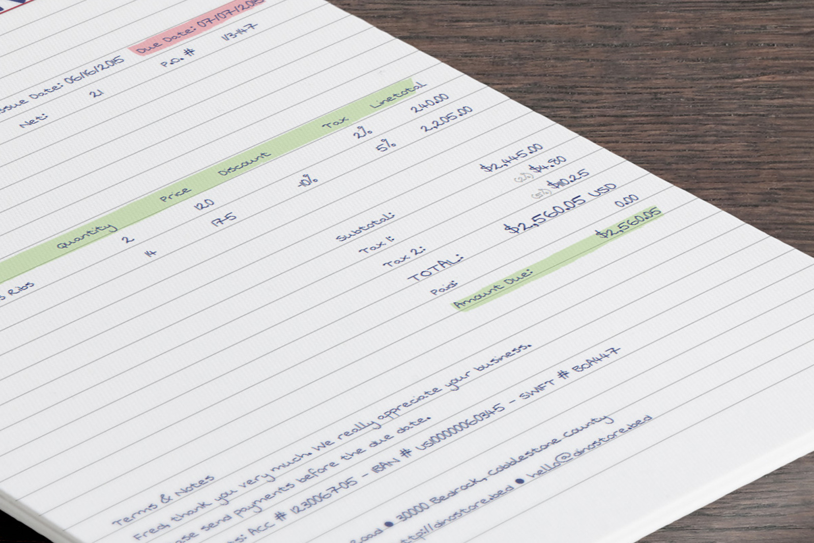 Designer Handwritten Invoice Template Mo - Handwritten invoice template
