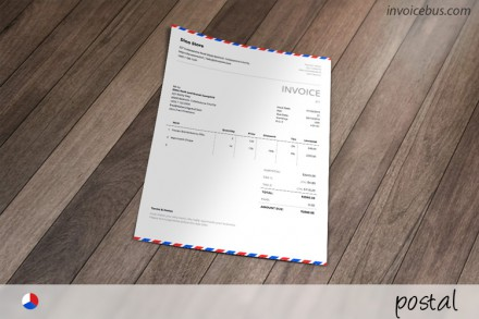 Inspired by the awesome airmail envelopes, Postal is generic invoice template that evokes the sense of inspiration without loosing any readability or functionality. It is carefully designed to look good even if you don't have a logo. Download it free at //invoicebus.com/templates/invoices/freebies/free-invoice-template-postal/