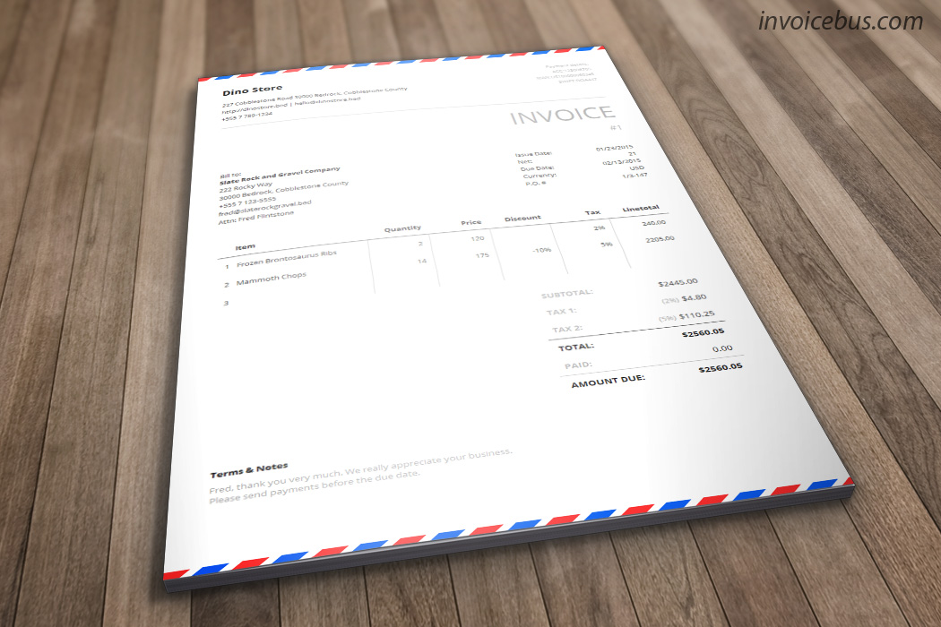 ... Inspired By The Awesome Airmail Envelopes, Postal Is Generic Invoice  Template That Evokes The Sense ...