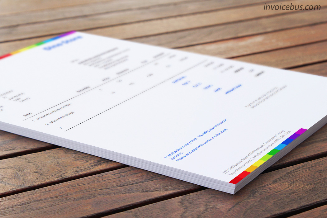 Beautiful, yet free invoice template which sends message of a company that cares about the little details. Rainbow evokes modern, almost artistic touch, and can be used as an extra point of sale to win more work. A great invoice template that would work well with any creative company. Download it at https://invoicebus.com/templates/invoices/freebies/invoice-template-rainbow/