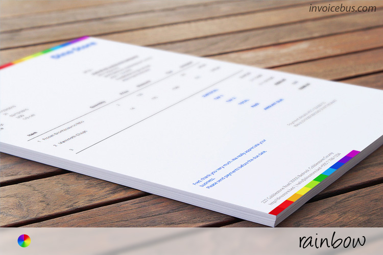 Commercial Invoice Template Rainbow - Free invoicing templates