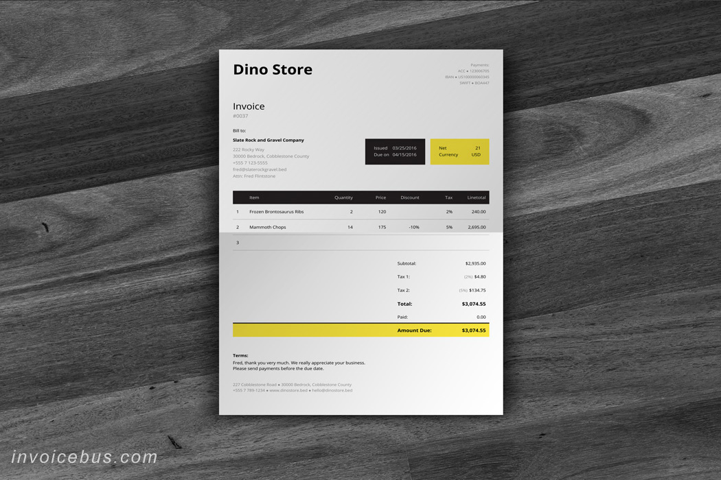 HTML Invoice Template Unite - Invoice html template bootstrap free download for service business