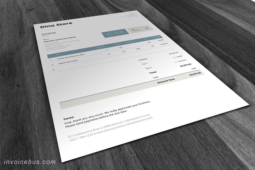 Modèle de facture HTML Unite 7