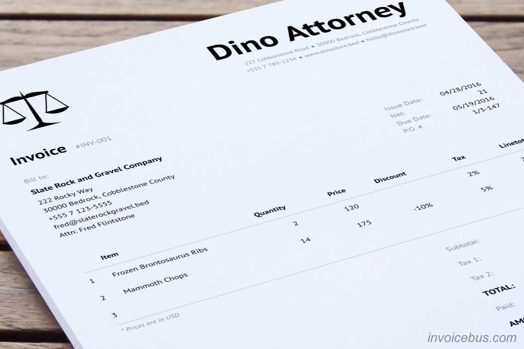 Legal Invoice Template   Clean  Attorney Invoice Template