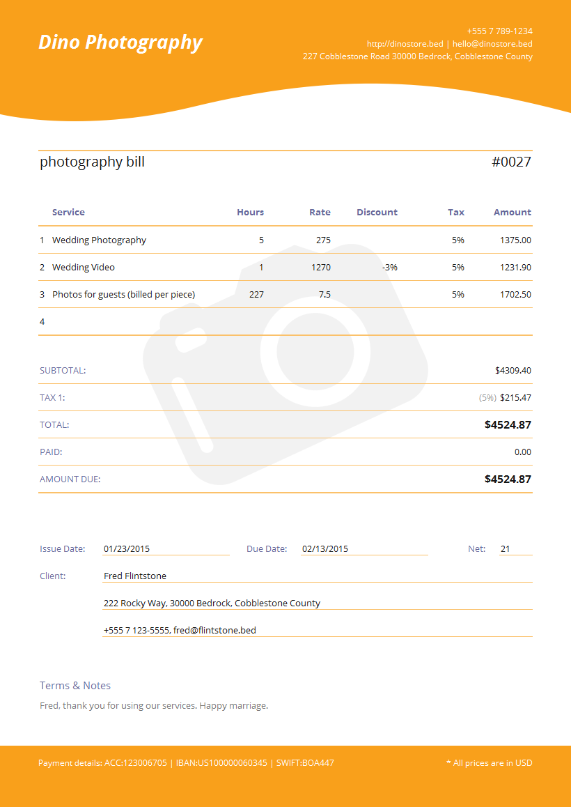 template for an invoice