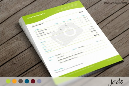 Specifically designed for professional photographers, Jade is contemporary invoice template with elegant lines, clever use of white space and well-proportioned columns. The camera watermark additionally enriches the whole appearance and gives immediate clue what you are charging for. Download it at //invoicebus.com/templates/invoices/photography/photography-invoice-template-jade/