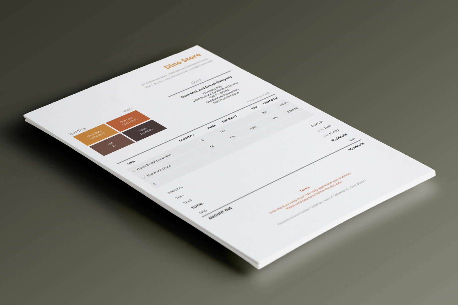 This corporate invoice template uses a metro style which relies more on the typography and the content, and less on the graphics of the document.