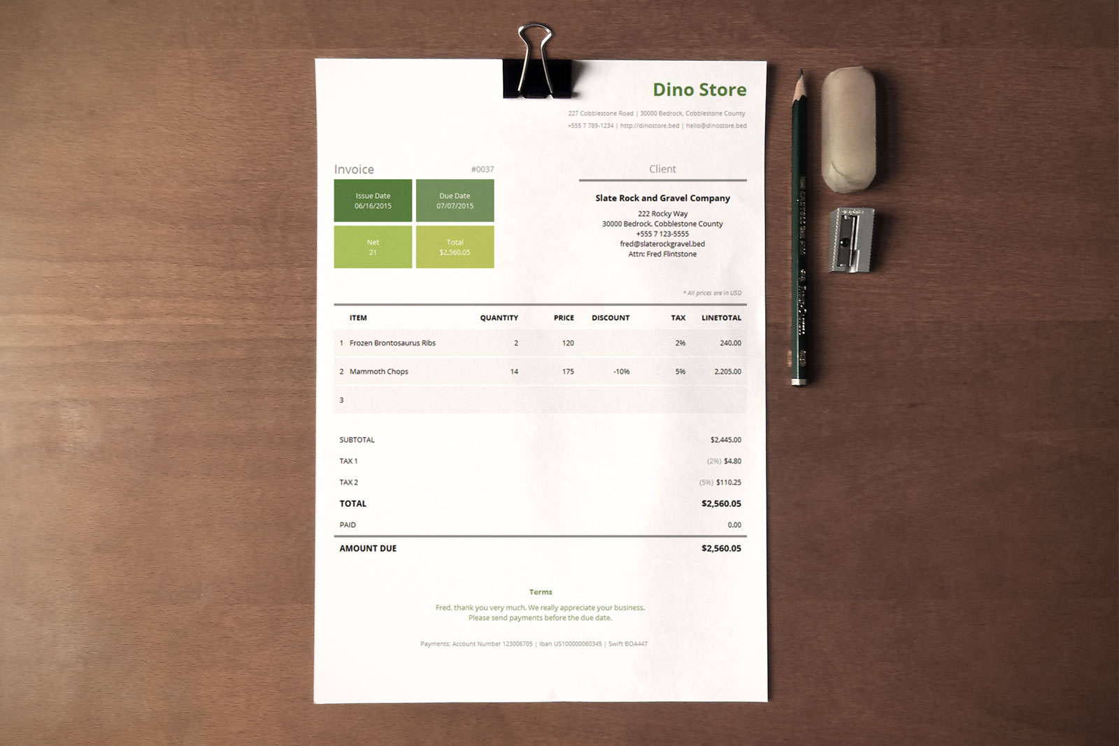 Simple Corporate Invoice Template Metro - Corporate invoice template