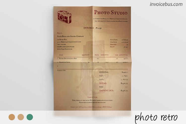 Photography Invoice Template - Photo Retro